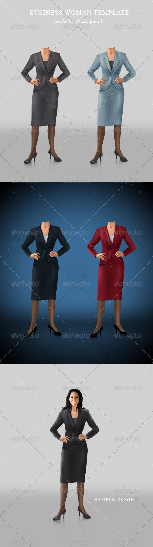 GraphicRiver Confident businesswoman template 263282