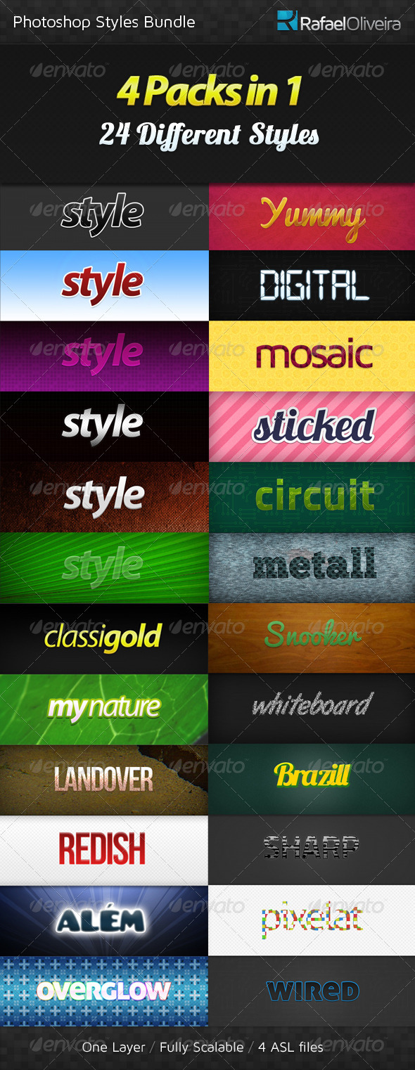 GraphicRiver Photoshop Styles Bundle 263292