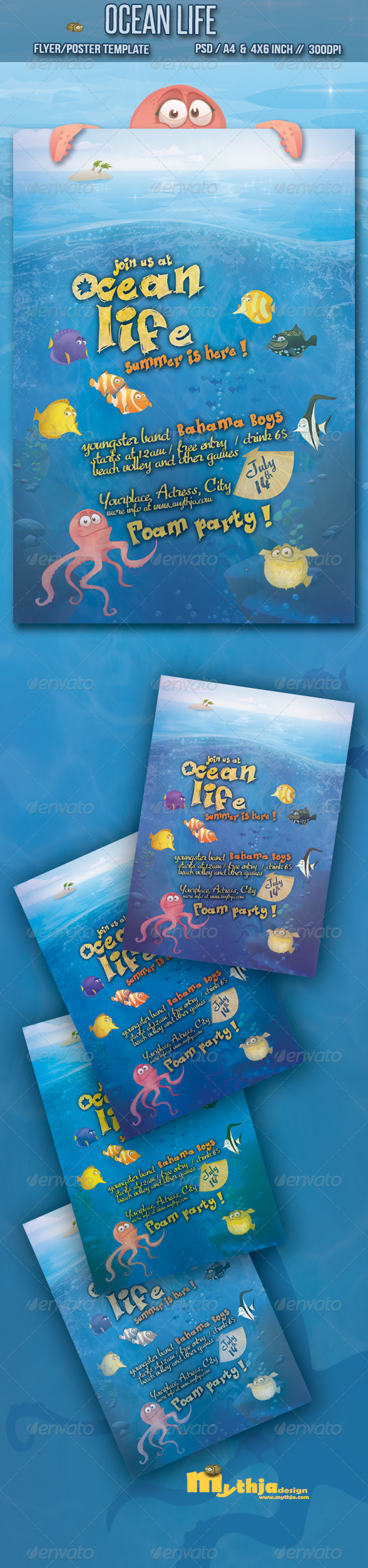 Graphic River Ocean Life Flyer/Poster Template Print Templates -  Flyers 2304874