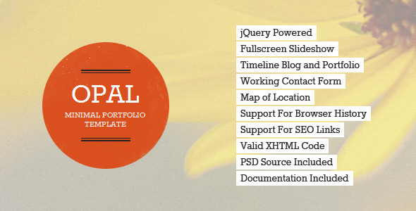 ThemeForest Opal Minimal Portfolio Template 2325294