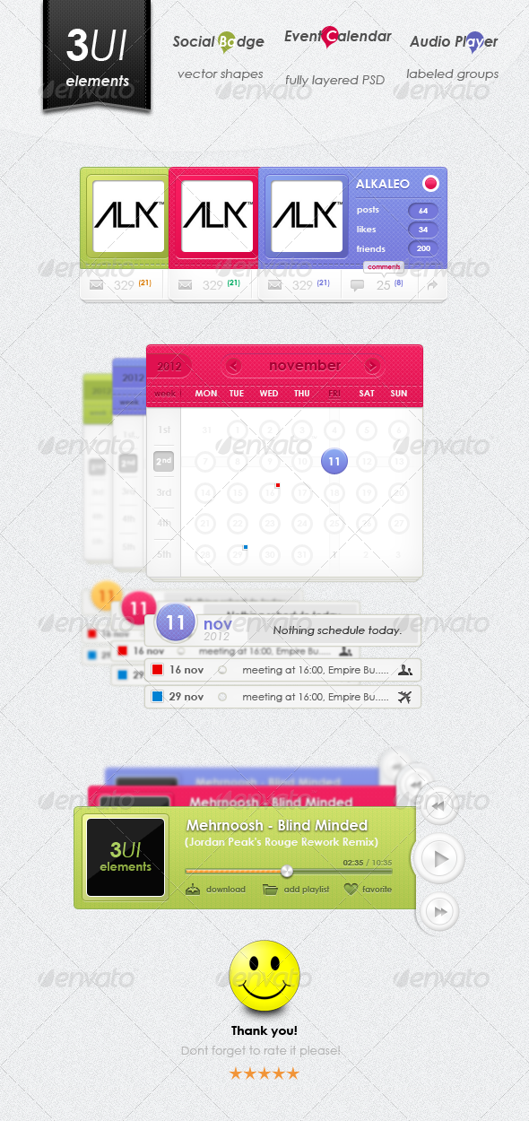 Graphic River 3UI Elements Design Web Elements -  Miscellaneous 2325677