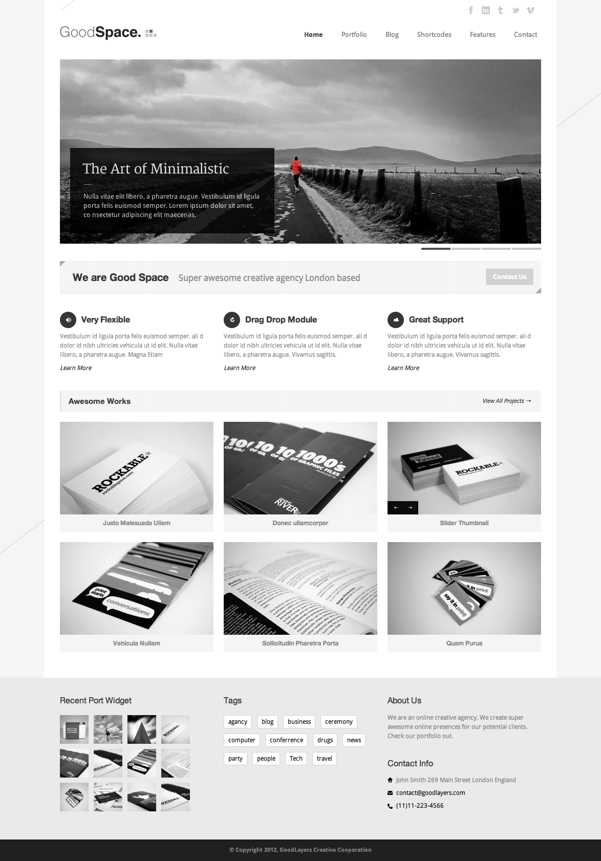 Good Space - Responsive Minimal WP Theme  - index page with color changed