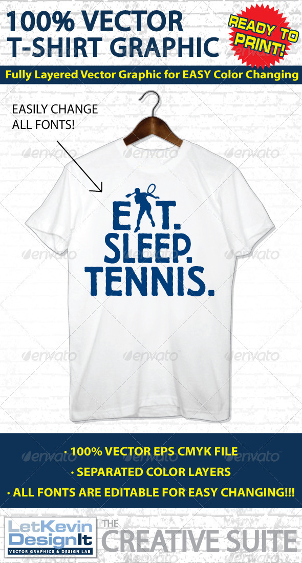 Tennis Vector T-shirt Graphic - Template - Sports & Teams T-Shirts