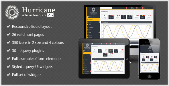 Hurricane - Responsive Liquid Admin Template - Hurricane Admin is a new premium responsive liquid admin template. This template is designed to help you build the site administration without losing valuable time.Template contains all the important functions which must have one backend system.