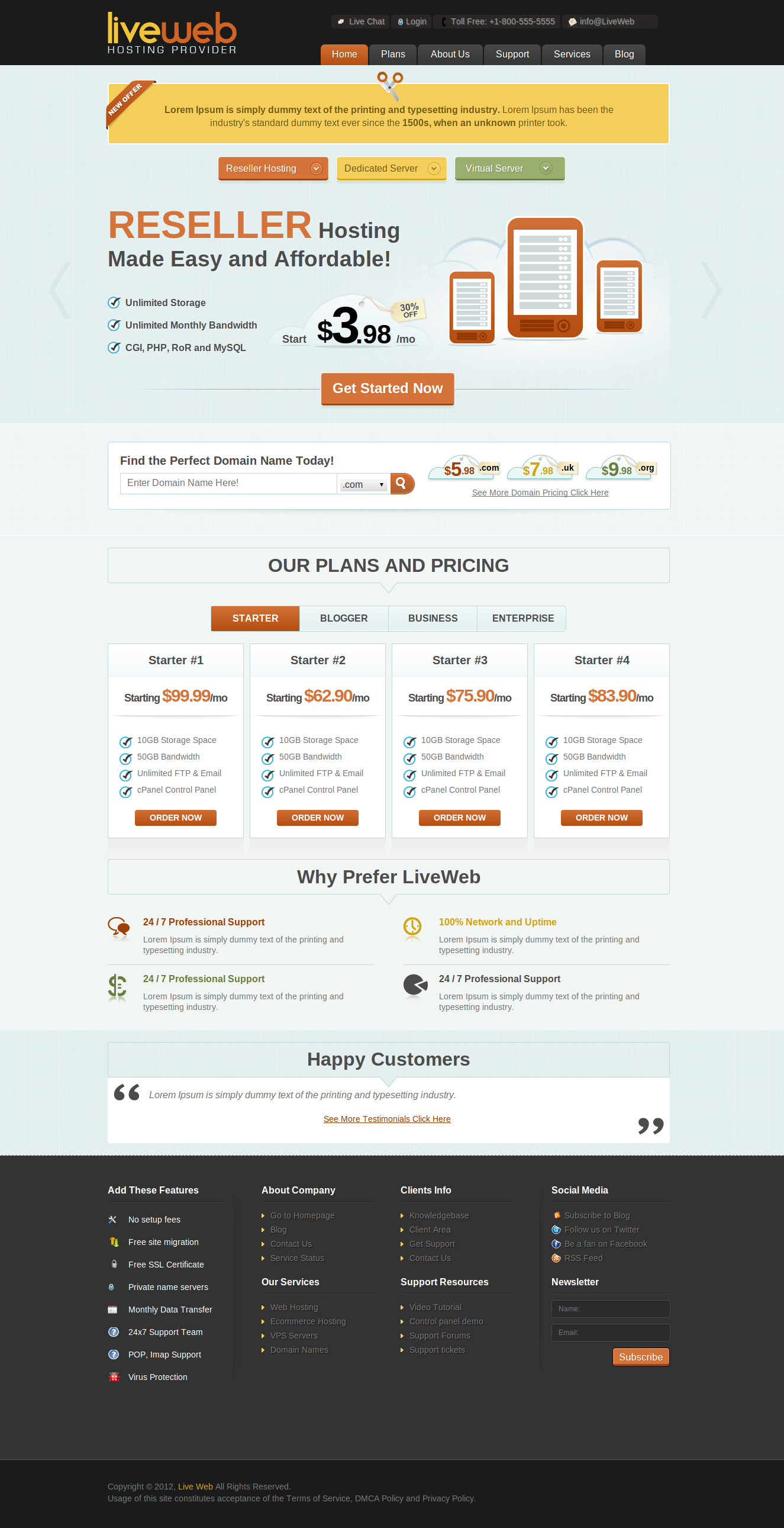 LiveWeb - XHTML/CSS Web Hosting Template