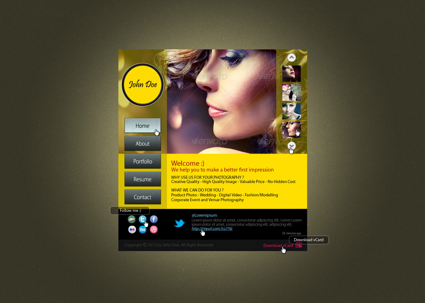 Modern Photographer Vcard PSD Template