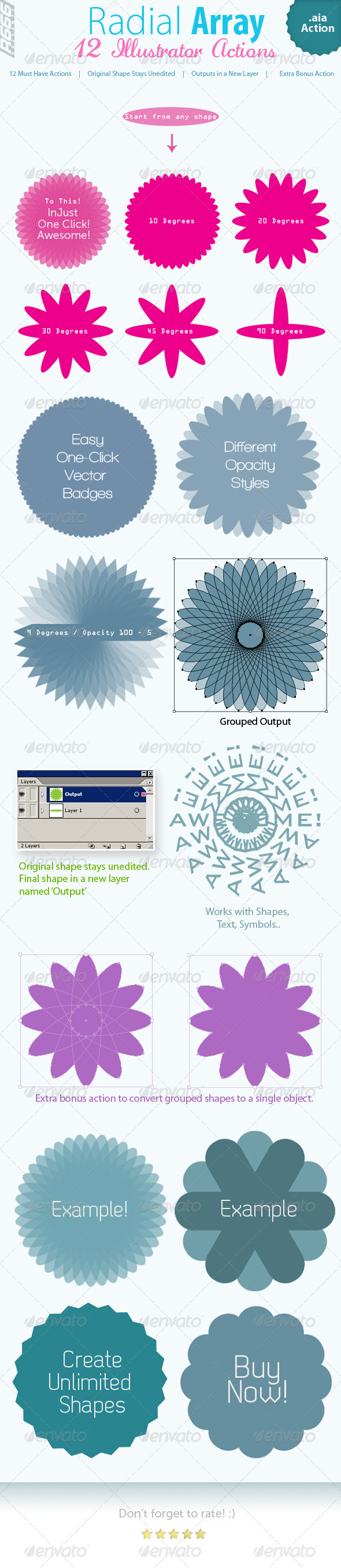 Radial Array Illustrator Actions - Actions Illustrator
