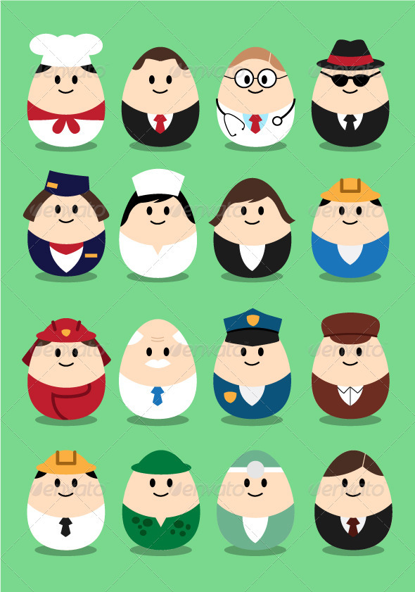 Collection of profession image in egg-shaped. each profession is in