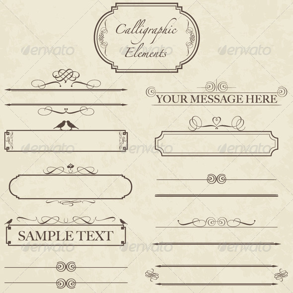 Vintage Calligraphic Elements - Vector Set - Decorative Symbols Decorative