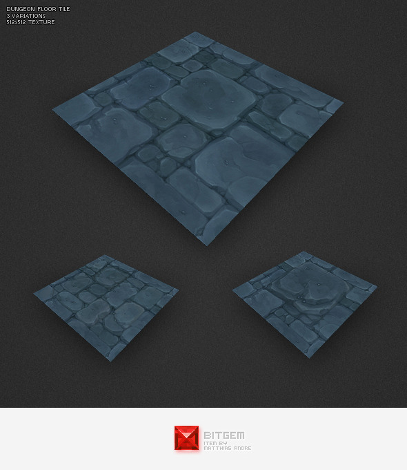 Low Poly Dungeon Floor Tile - 3DOcean Item for Sale