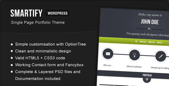 ThemeForest Smartify Single Page WordPress HTML5 Portfolio 2326532