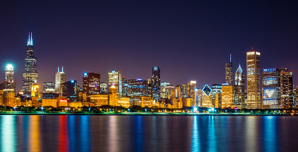 VideoHive Chicago Night Skyline 2332250