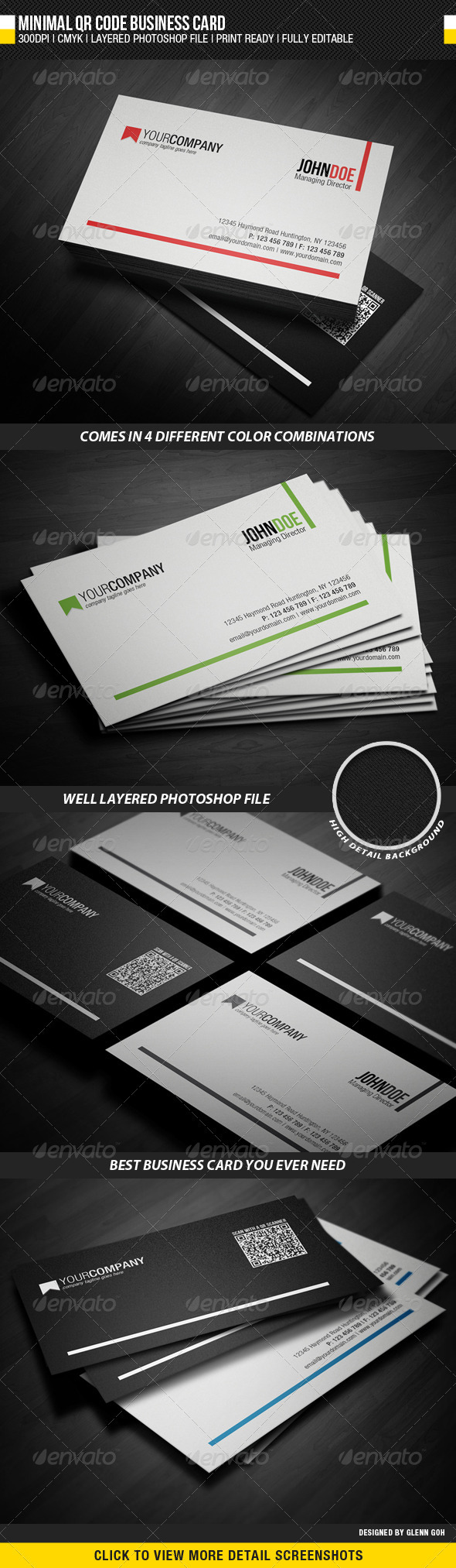 Minimal QR Code Business Card - Corporate Business Cards