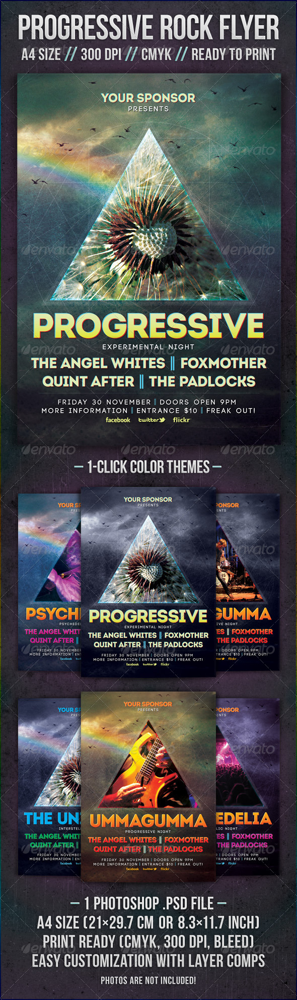 Graphicriver Progressive Rock Flyer Template