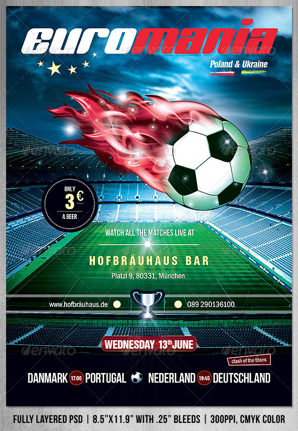 GraphicRiver EuroMania Football Soccer Poster Flyer 2333032