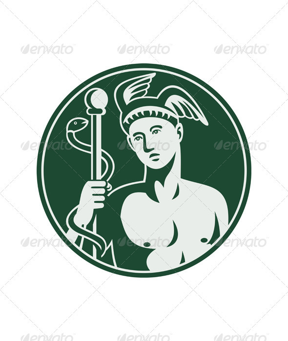 Hermes with a staff and snake - Health/Medicine Conceptual