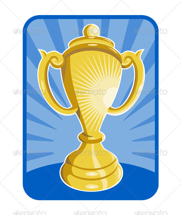 Front View of a Trophy Cup - Man-made objects Objects