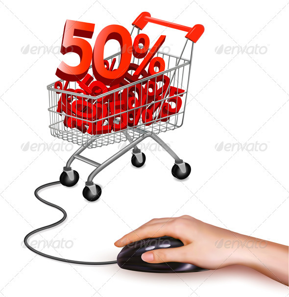 Hand with computer mouse and shopping cart  - Concepts Business
