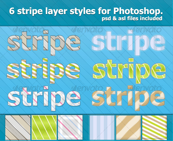 Graphic River 6 Nice Stripe Text Effects & Styles Add-ons -  Photoshop  Styles  Text Effects 86544