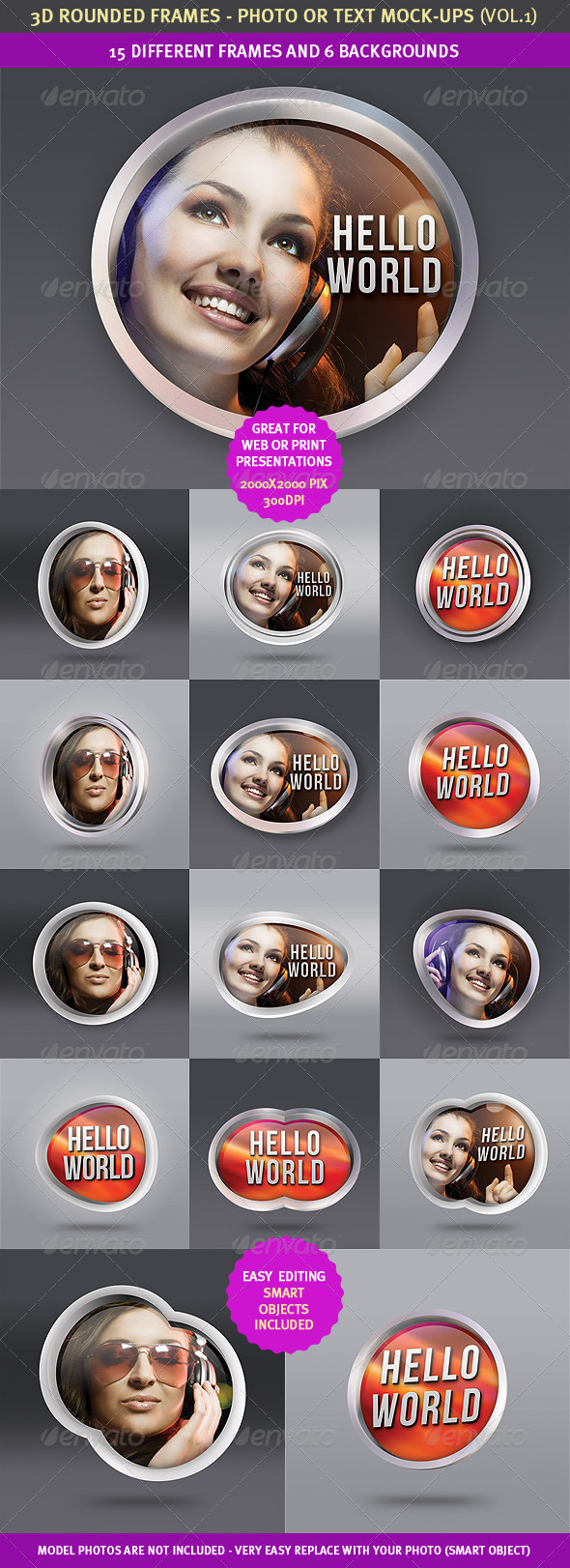 GraphicRiver 15 Rounded 3D Frame Mock-Ups 2311068