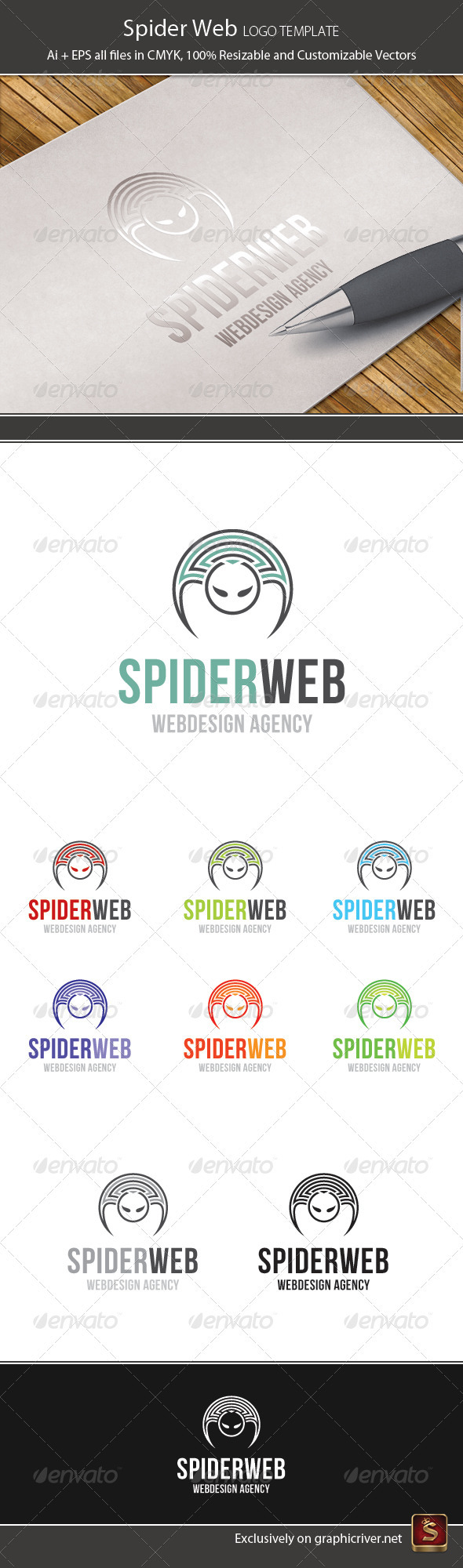 Spider Web Logo Template - Animals Logo Templates