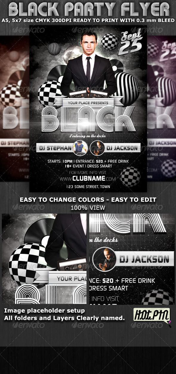 Black Party-Club Flyer Template - Flyers Print Templates