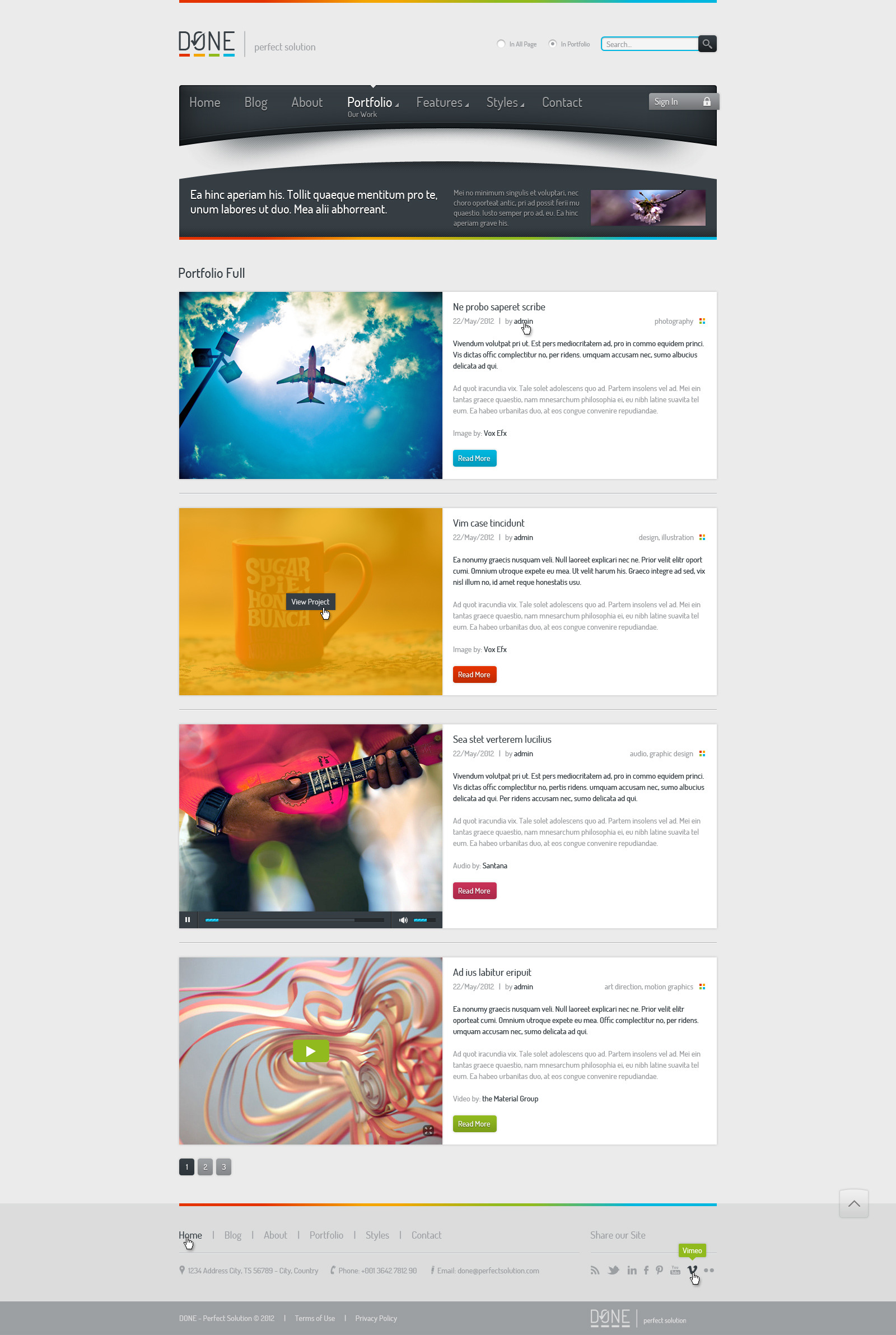 Done - Portfolio & Blog PSD Template - Done - Portfolio & Blog Template.  Portfolio full.