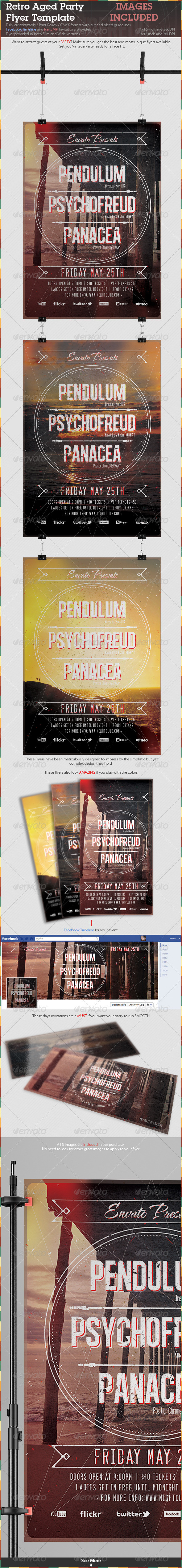GraphicRiver Retro Aged Party Flyer Template 2336653