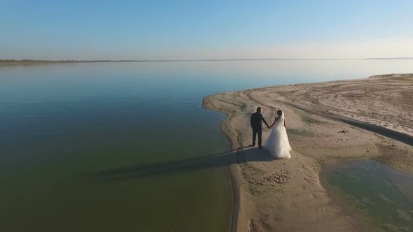 VideoHive Bride and Groom Walk Along the Beach Aerial 18999502