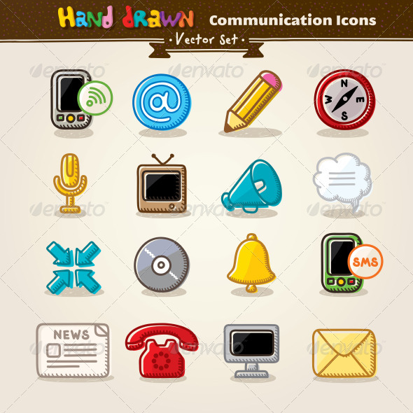 Vector Hand Draw Communication Icon Set - Communications Technology