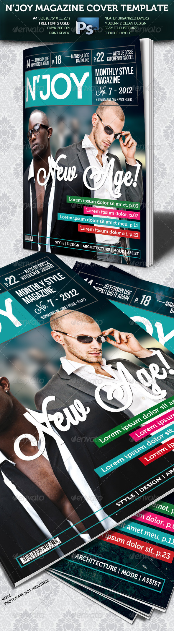 N'joy A4 Magazine Cover - Magazines Print Templates