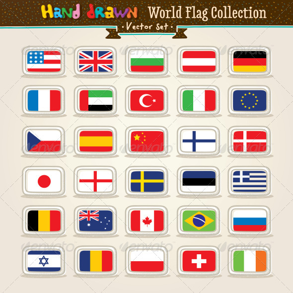 Vector Hand Draw World Flags Icon Set