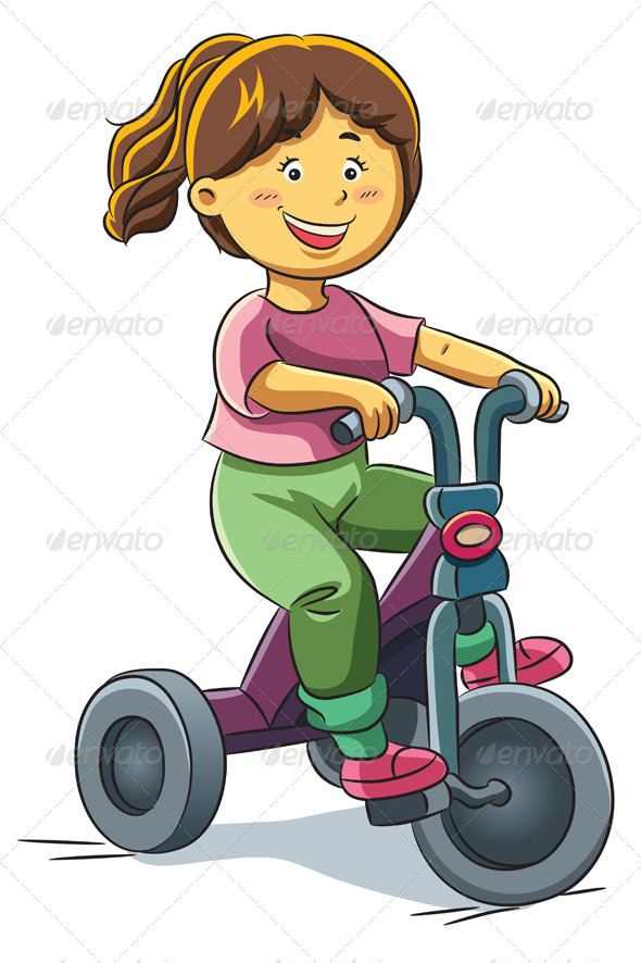 Girl Riding Tricyle