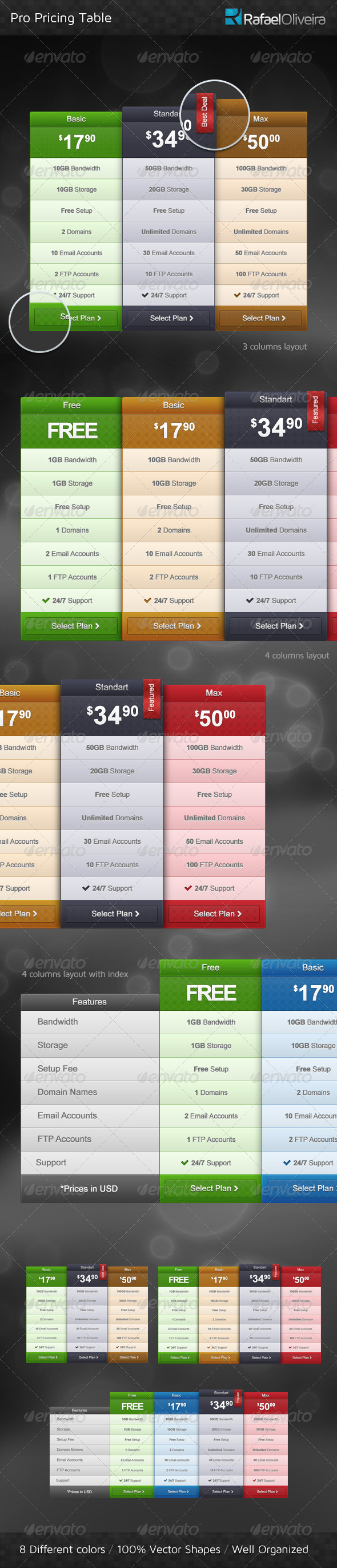 Pro Pricing Table - Tables Web Elements