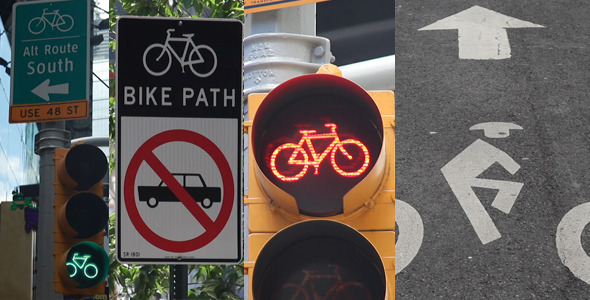 Bike Path Signs Pack in New York City Full HD