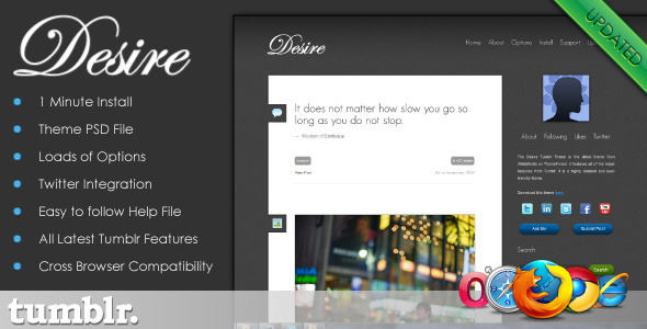 ThemeForest Desire Tumblr Theme 150656