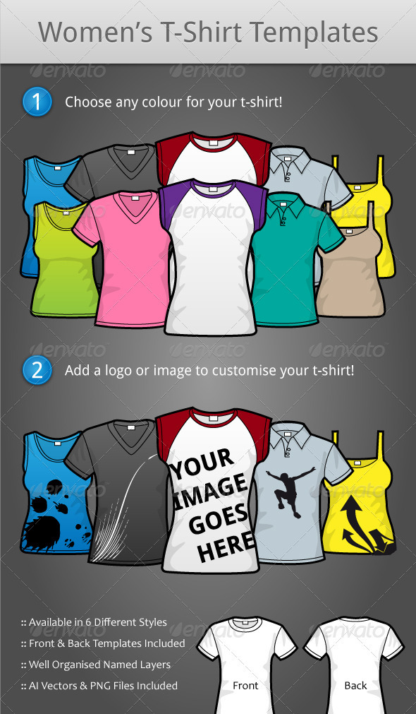 Female T-Shirt Templates - GraphicRiver Item for Sale