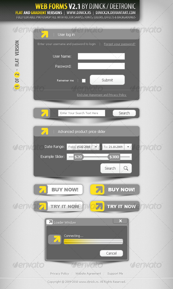 Graphic River Web Forms 3 Grayscale and Gradiental Web Elements -  Miscellaneous 86791