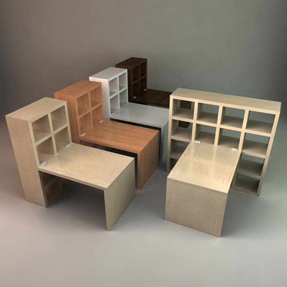 Stylish Desk with Bookcase - 3DOcean Item for Sale