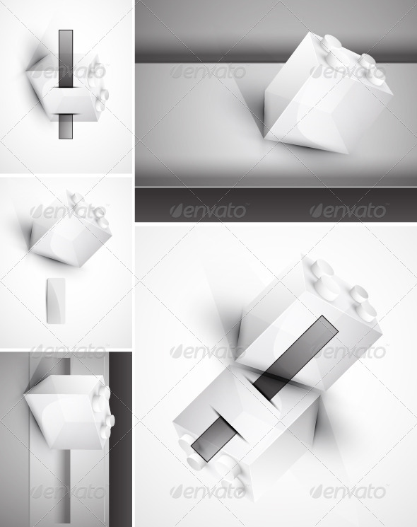 Set of vector toy block backgrounds - Man-made objects Objects