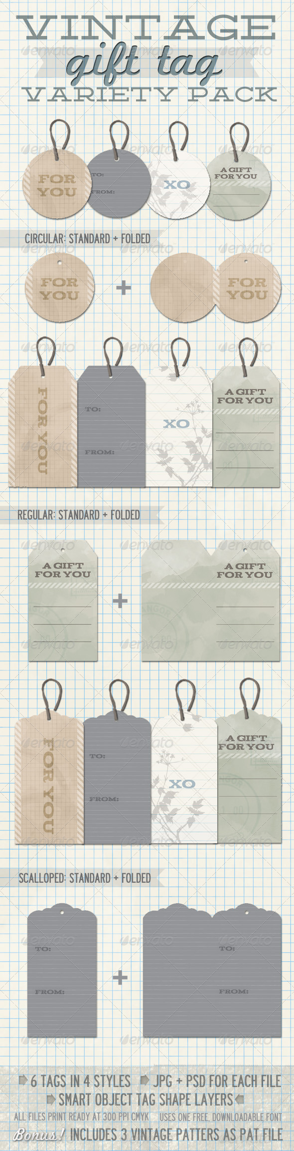 GraphicRiver Vintage Gift Tag Variety Pack 265425