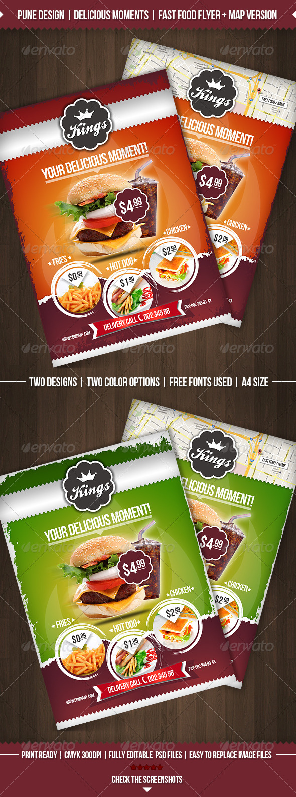 Delicious Moments | Fast Food Flyer Template - Restaurant Flyers