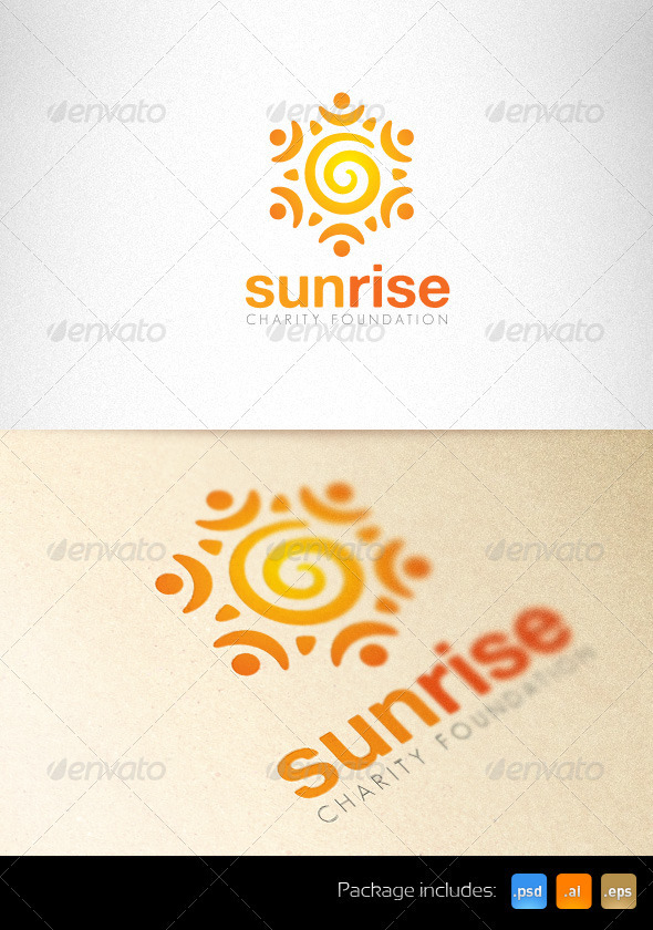 Sunrise Charity Foundation Creative Logo  - Symbols Logo Templates