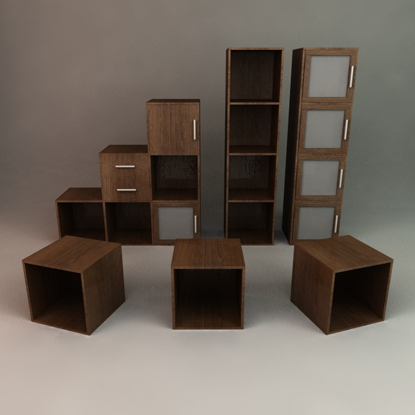 3DOcean Office Cube Shelving 72446