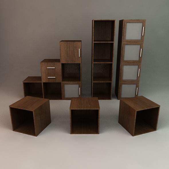 Office Cube Shelving - 3DOcean Item for Sale
