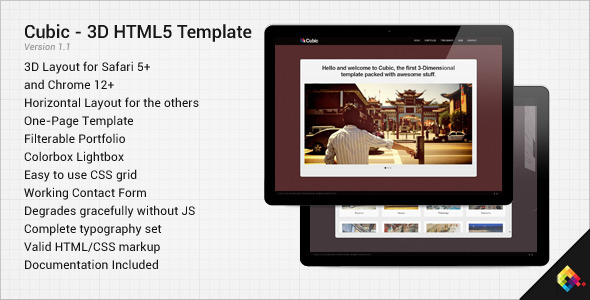 ThemeForest Cubic 3D HTML5 One-Page Template 2348204