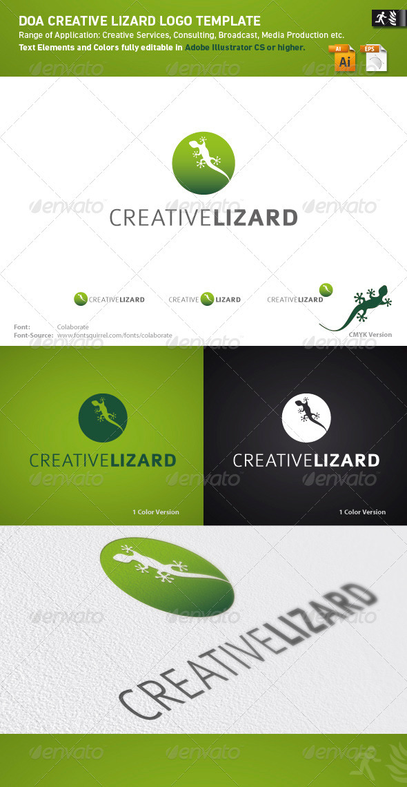 DOA Creative Lizard Logo Template - Animals Logo Templates