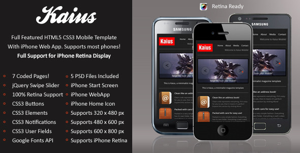 Kaius Mobile Retina | HTML5 & CSS3 And iWebApp