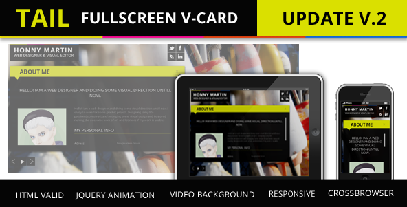 Tail Fullscreen V-card