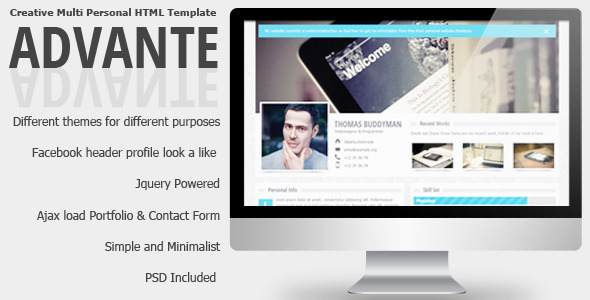 Advante - Creative Multi Personal HTML Template - Personal Site Templates